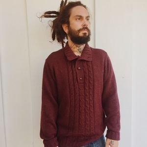 Maroon Chunky Knit Pullover Henley Sweater